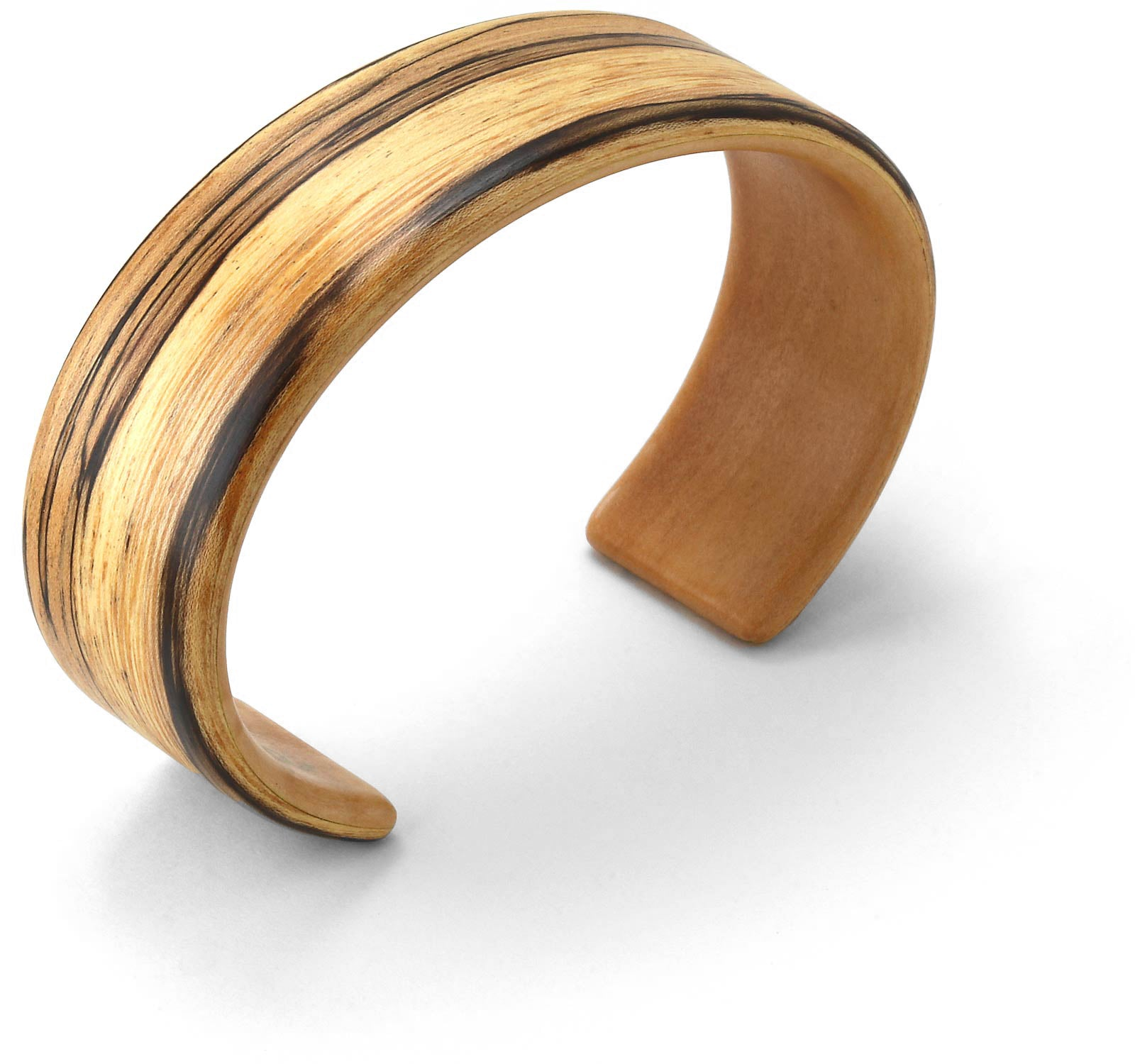 Steam bent spalted wood wide cuff bracelet.