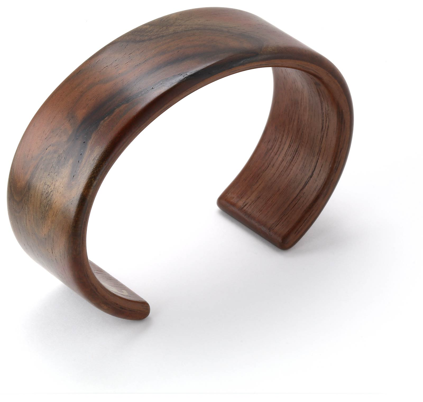 Steam bent walnut burl wood wide cuff bracelet.