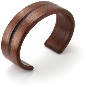 Steam bent walnut pith wood wide cuff bracelet.