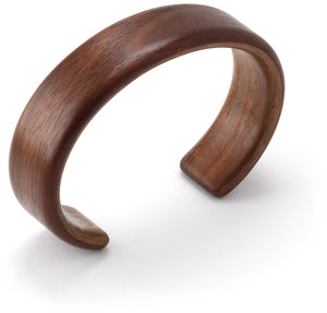 Steam bent walnut wood cuff bracelet.