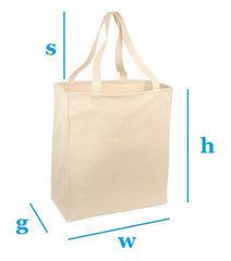 custom size cotton canvas tote bags