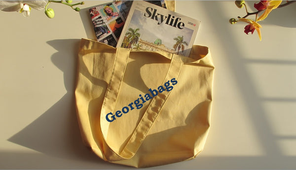 Yellow Heavy Canvas Cotton Beach Tote Bags by Georgiabags