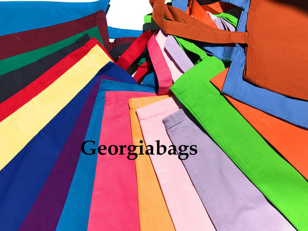 12 Pack Assorted Color Cotton Tote Bags - GeorgiaBags