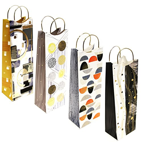 12 Piece Wine Bottle Gift Bags, 4 Unique Designs with Gold Metallic Handles - GeorgiaBags