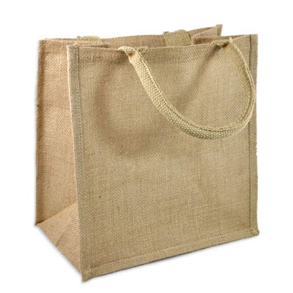 "6 PACK Medium Size Burlap Jute Book Bag-Full Gusset 12"" x 12"" x 7"" - GeorgiaBags"