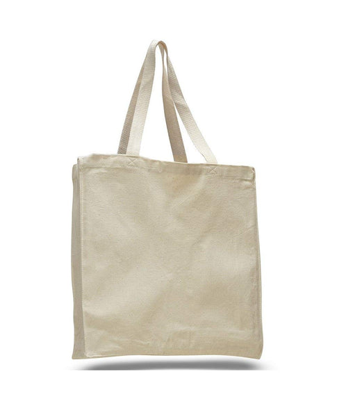 "12 Pack Large Size Reusable 100% Canvas Cotton Tote Bags (14""W x 15""H x 4""D) - GeorgiaBags"