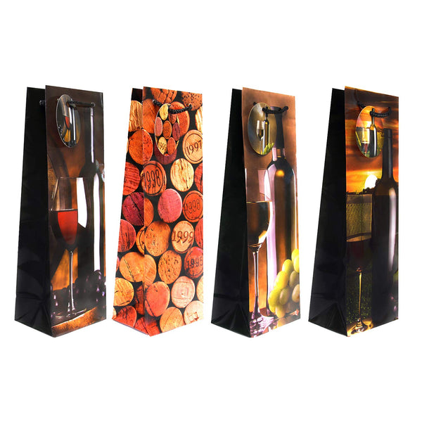 12 Pack Wine Gift Bags, Classic and Modern Wine Gift Bag Set of 4 Designs - GeorgiaBags
