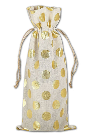 6 PACK-Linen Wine Bag with Gold Metallic Dots by Georgiabags