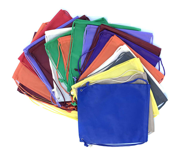 Georgiabags Value Pack-Set of 50 Non-Woven Drawstring Backpack Bags, Solid Color Basic Multipurpose Backpacks, WHOLESALE BUDGET PRICE!
