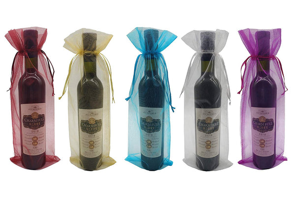20 Pack Sheer Organza Wine Bags, Assorted Colors - GeorgiaBags