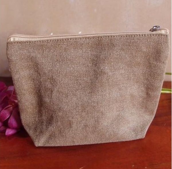 "10"" Brown Canvas Zipper Pouch with Gusset, Brown Color Canvas - GeorgiaBags"