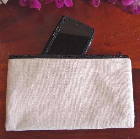 Large Size Canvas Flat Zipper Pouch, White Color