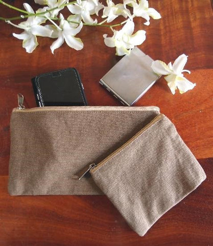 Large Size Brown Canvas Flat Zipper Pouch