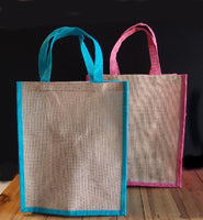 "12"" Jute Tote with Color Trim - GeorgiaBags"