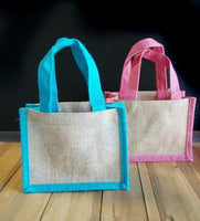 Mini Gift Jute Tote with Color Trim - GeorgiaBags