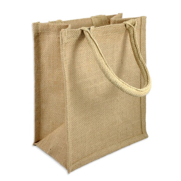 "Small Size Burlap Jute Book Tote Bag-Full Gusset 9"" x 11"" x 4"" - GeorgiaBags"