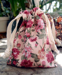 12 Pack Vintage Floral Print on Ivory Bag with Cotton Drawstrings - GeorgiaBags