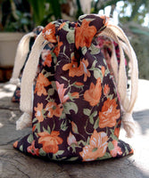 12 Pack Vintage Floral Print on Black Bag with Cotton Drawstrings - GeorgiaBags