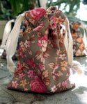 12 Pack Vintage Floral Print on Brown Bag with Cotton Drawstrings - GeorgiaBags