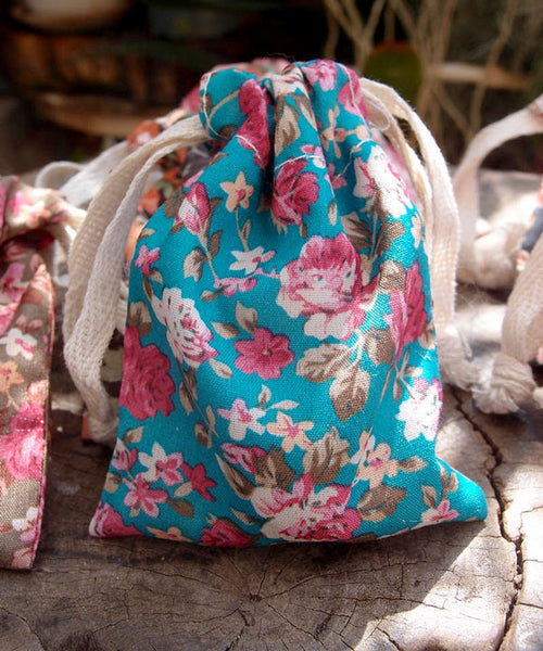 12 Pack Vintage Floral Print on Light Blue Bag with Cotton Drawstrings - GeorgiaBags
