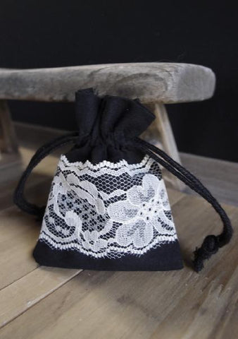 "12 Pack Black Cotton Bag with Lace 3"" x 4"" - GeorgiaBags"
