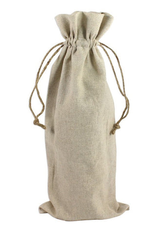 Natural Linen Wine Bags With Drawstrings - 6 Pack