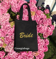 Bride Gold Glitter Script on Black Canvas Tote Bag - GeorgiaBags