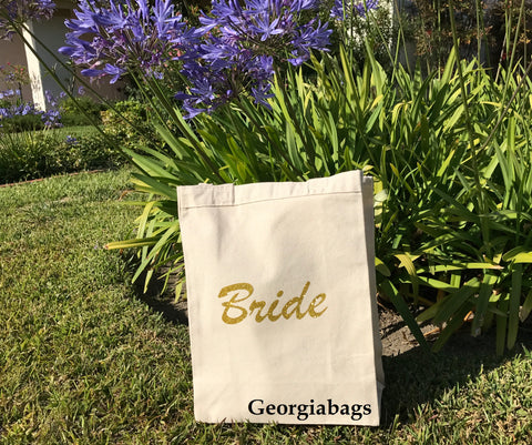 Bride Gold Glitter Script on Natural Canvas Tote Bag - GeorgiaBags