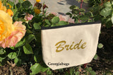 Bride Gold Glitter Script on Canvas Zipper Pouch - GeorgiaBags