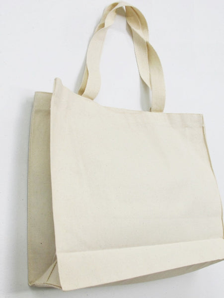 "Sturdy Natural Canvas Shopping Tote Bags, Crafter Plain Bags 15""x12""x4"" - GeorgiaBags"