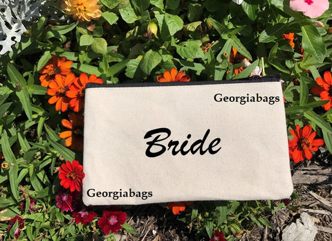 Bride Script on Canvas Zipper Pouch - GeorgiaBags