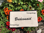 Bridesmaid Script on Canvas Zipper Pouch - GeorgiaBags