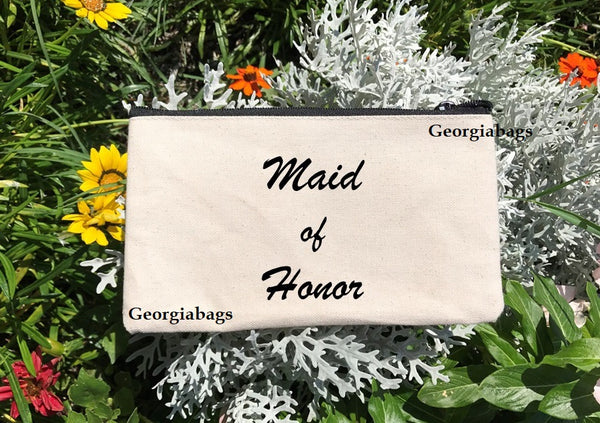 Maid of Honor Script on Canvas Zipper Pouch - GeorgiaBags
