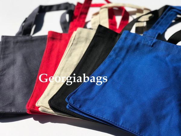 "12 Pack Medium Size Canvas Book Tote Bags (10""W x 14""H x 5""D) - GeorgiaBags"