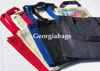 "Small Size Plain Canvas Book Bag with Gusset (10""W x 12""H x 3""D) - GeorgiaBags"