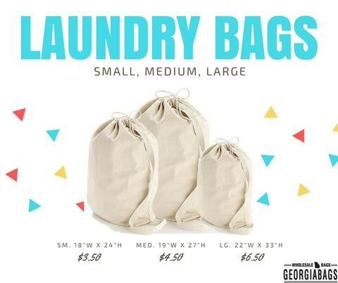 Drawstring Canvas Laundry Bags ( Small, Medium, Large ) - GeorgiaBags