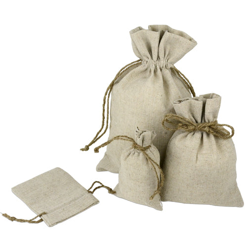 "12 Pack Linen Bag with Jute Cord 8"" x 10"" - GeorgiaBags"