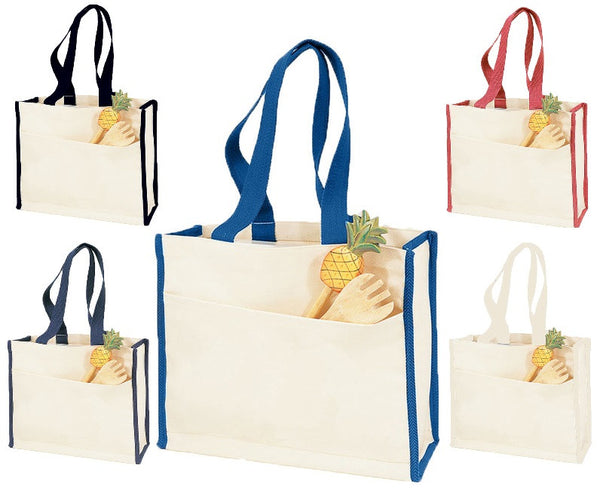 Heavy Canvas Tote Bag with Web Handles. Side Pocket. - GeorgiaBags