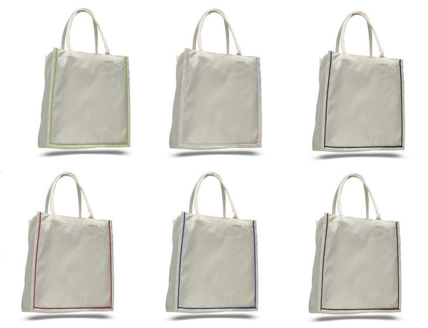 Shopping Canvas Tote Bags with Color Stripe - GeorgiaBags