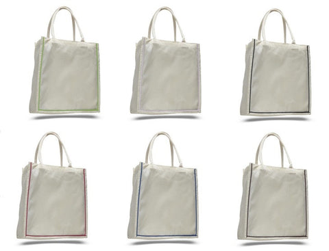 Shopping Canvas Tote Bags with Color Stripe