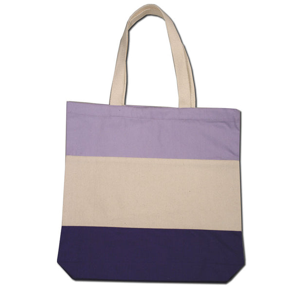 ( 12 Pack ) Tri-Color Heavy Canvas Cotton Tote Bags - GeorgiaBags