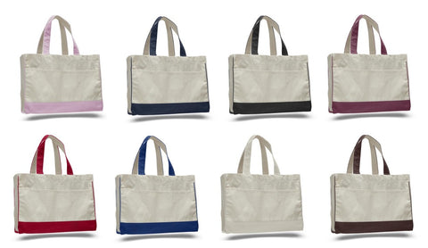 Heavy Canvas shopping tote bag self fabric handles, inside zipper pocket