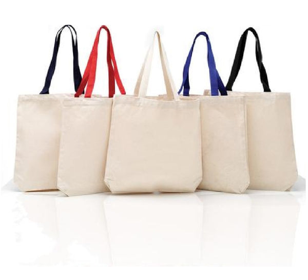 (12 Pack ) 100% Cotton Tote Bags with Color Handles - GeorgiaBags
