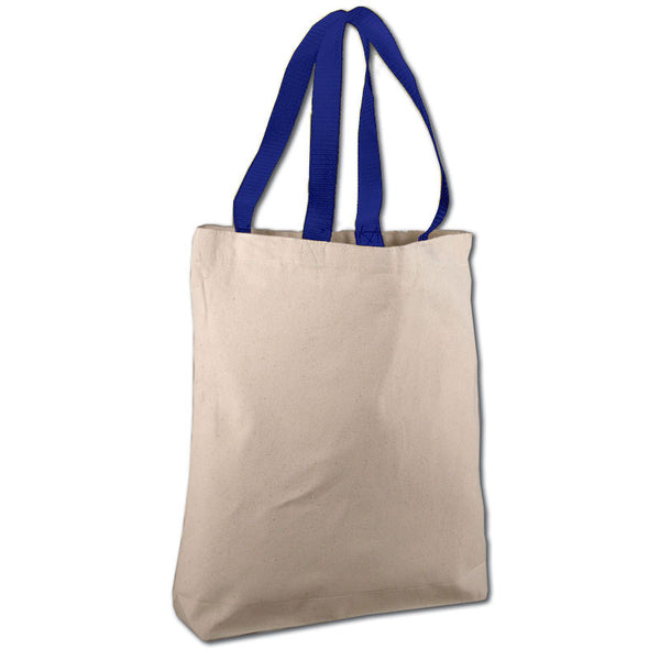 (12 Pack )Heavy Duty Canvas Tote Bags with Color Handles - GeorgiaBags