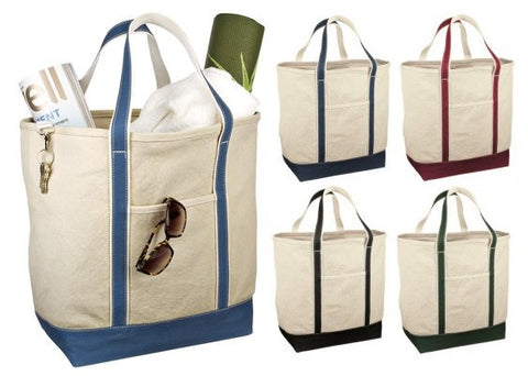 Large Open Top Natural Canvas Tote Bags