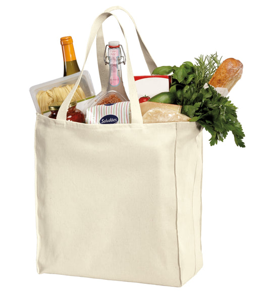 "Reusable Grocery Tote Bags with Cotton Long Web Handles, 15.5""h x 14.5""w x 7""d - GeorgiaBags"