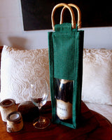 Jute Wine Bag Cane Handles - GeorgiaBags