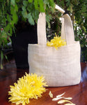 White Color Mini Jute Gift Bags - GeorgiaBags