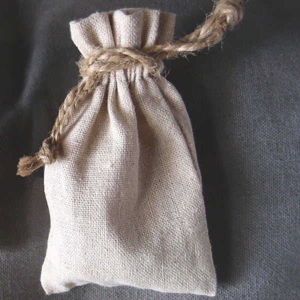 "12 Pack Linen Bag with Jute Cord 3"" x 5"" - GeorgiaBags"