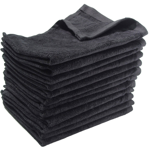 12 Pack Terry Velour Fingertip Towels, Black Color - GeorgiaBags